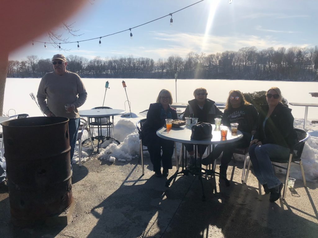 A brisk day in April on the patio at Marina Lodge - Fairmont, MN. Snow pushed aside.