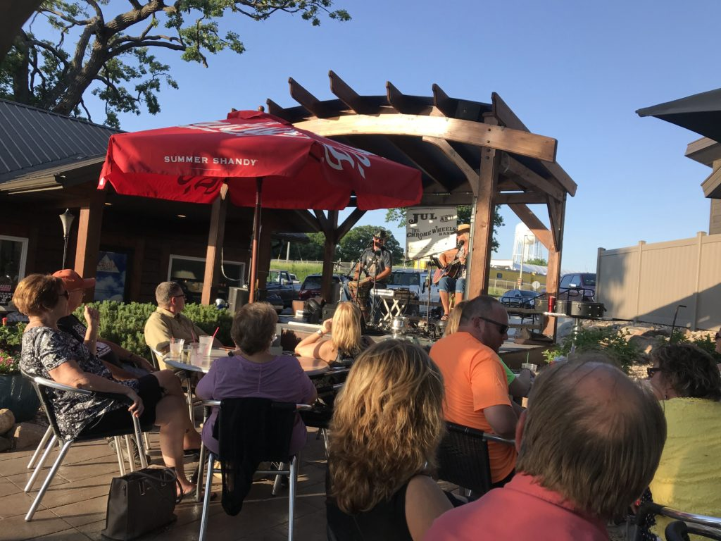 The Marina Lodge often has live entertainment on the outdoor stage overlooking the patio