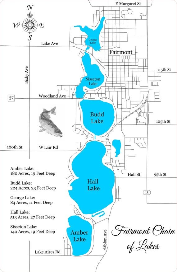 Map showing all five lakes that run north to south.