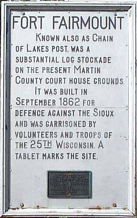 Historic sign about Fairmont, Minnesota beginnings.